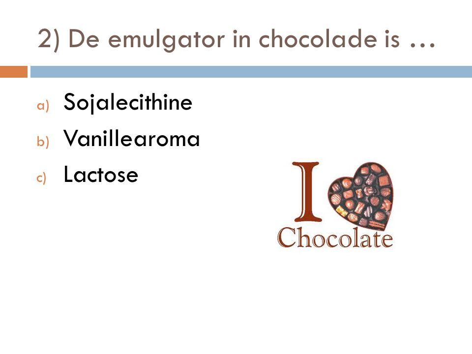 13) Welke invloed heeft vocht op gesmolten chocolade.