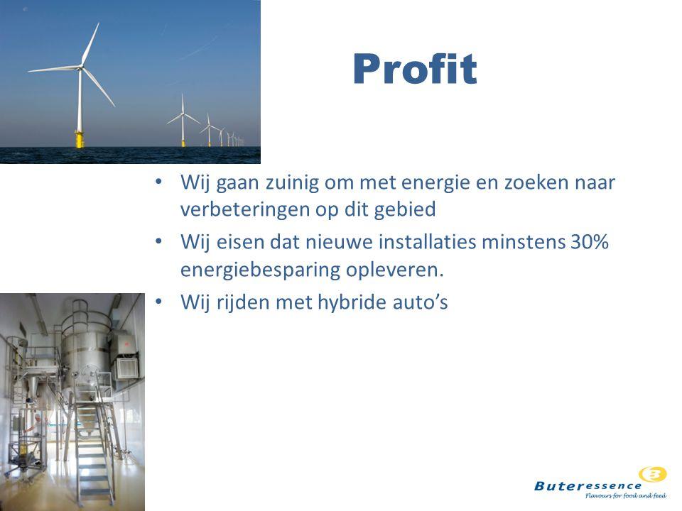 Profit Wij gaan zuinig om met energie en zoeken naar verbeteringen op dit gebied Wij eisen dat nieuwe installaties minstens 30% energiebesparing opleveren.
