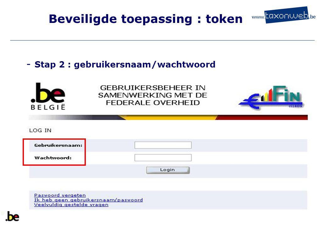 Beveiligde toepassing : token - Stap 2 : gebruikersnaam/wachtwoord