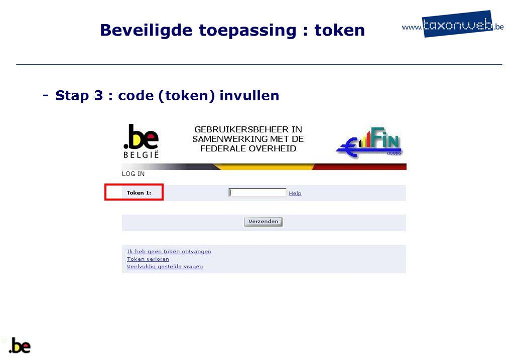 Beveiligde toepassing : token - Stap 3 : code (token) invullen