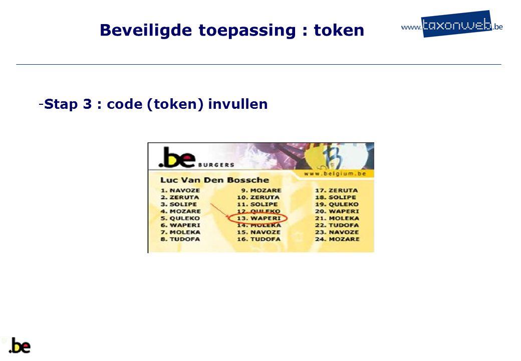 Beveiligde toepassing : token -Stap 3 : code (token) invullen