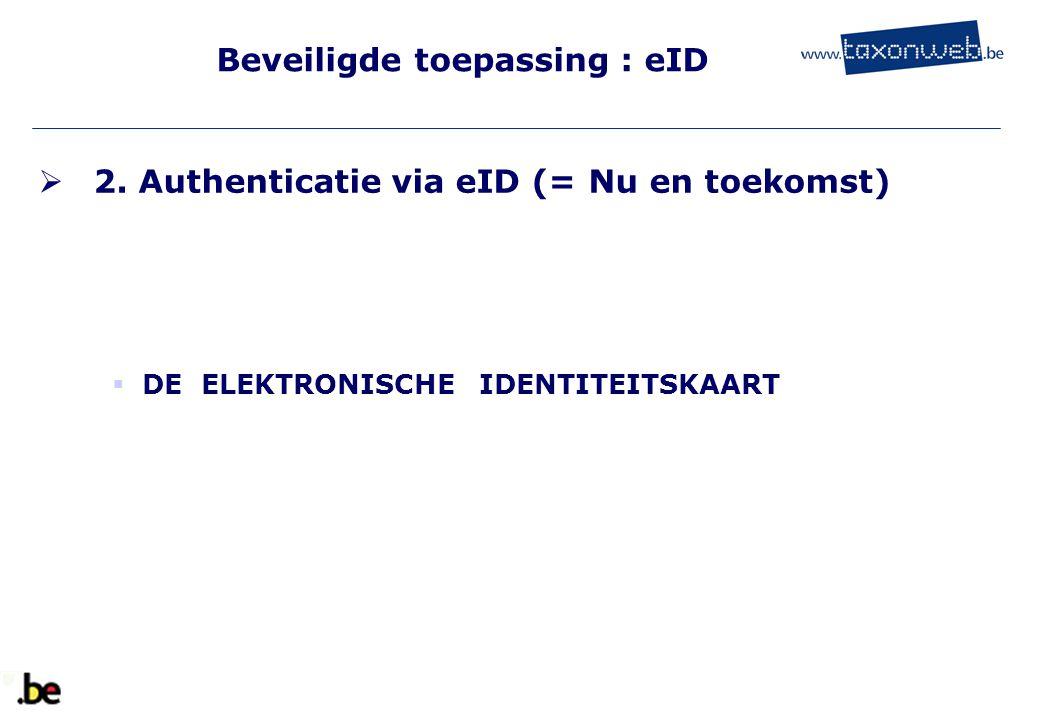 Beveiligde toepassing : eID  2. Authenticatie via eID (= Nu en toekomst)  DE ELEKTRONISCHE IDENTITEITSKAART