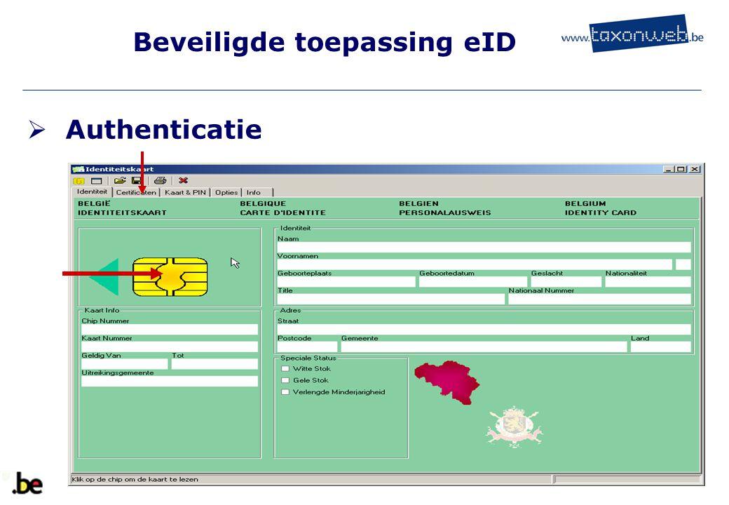 Beveiligde toepassing eID  Authenticatie