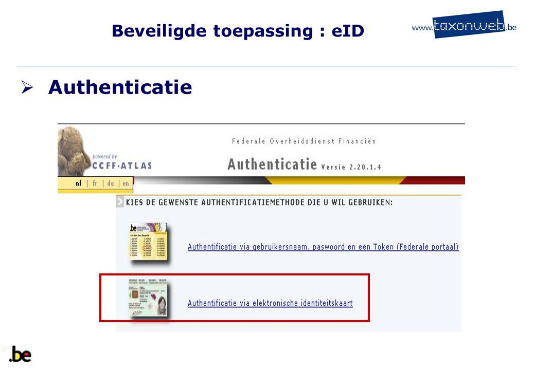 Beveiligde toepassing : eID  Authenticatie