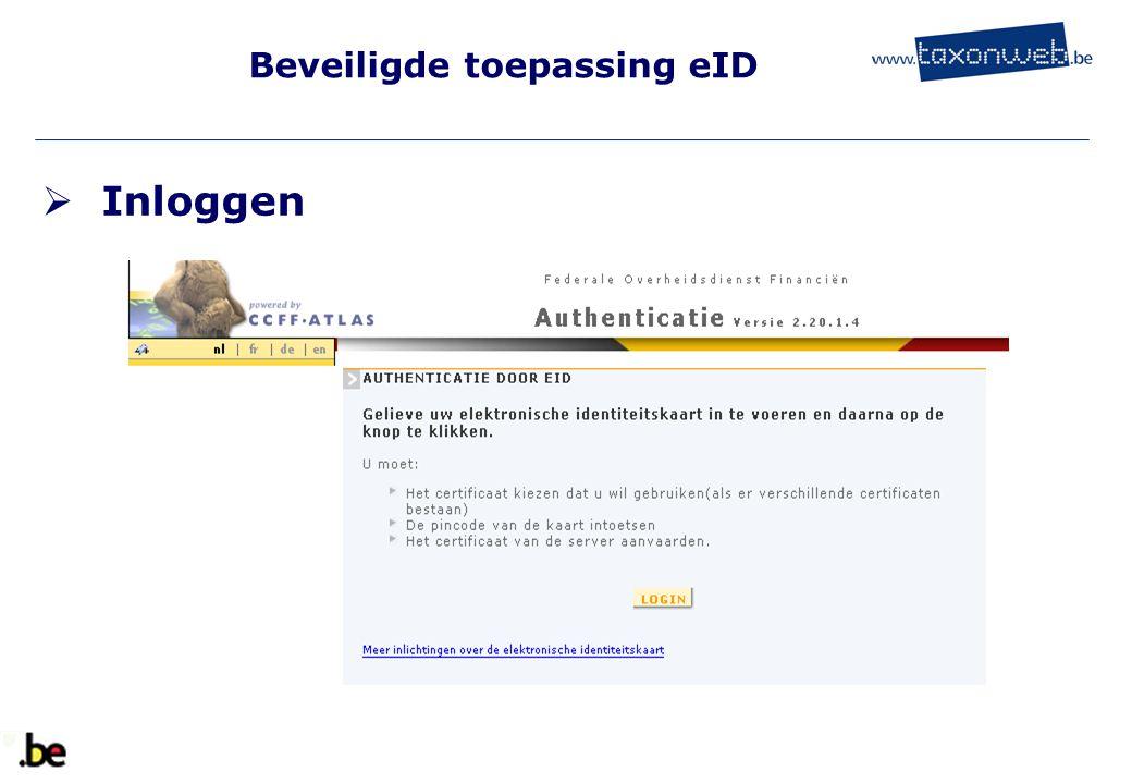 Beveiligde toepassing eID  Inloggen