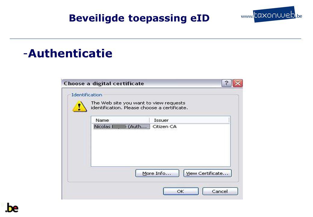 Beveiligde toepassing eID -Authenticatie