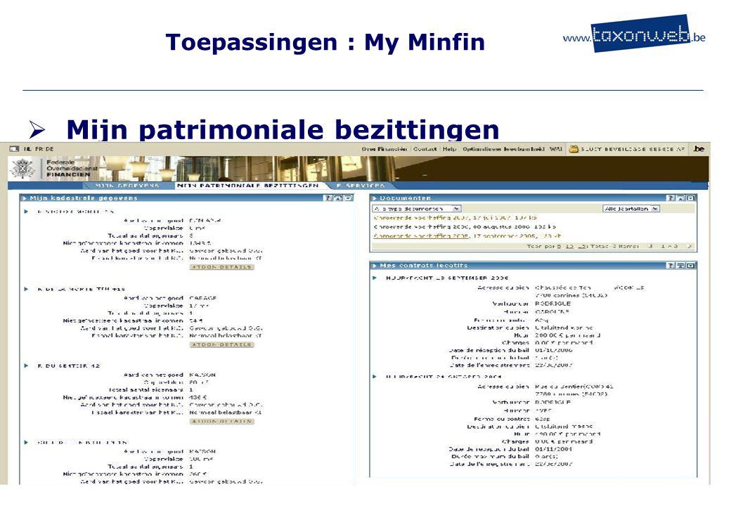 Toepassingen : My Minfin  Mijn patrimoniale bezittingen