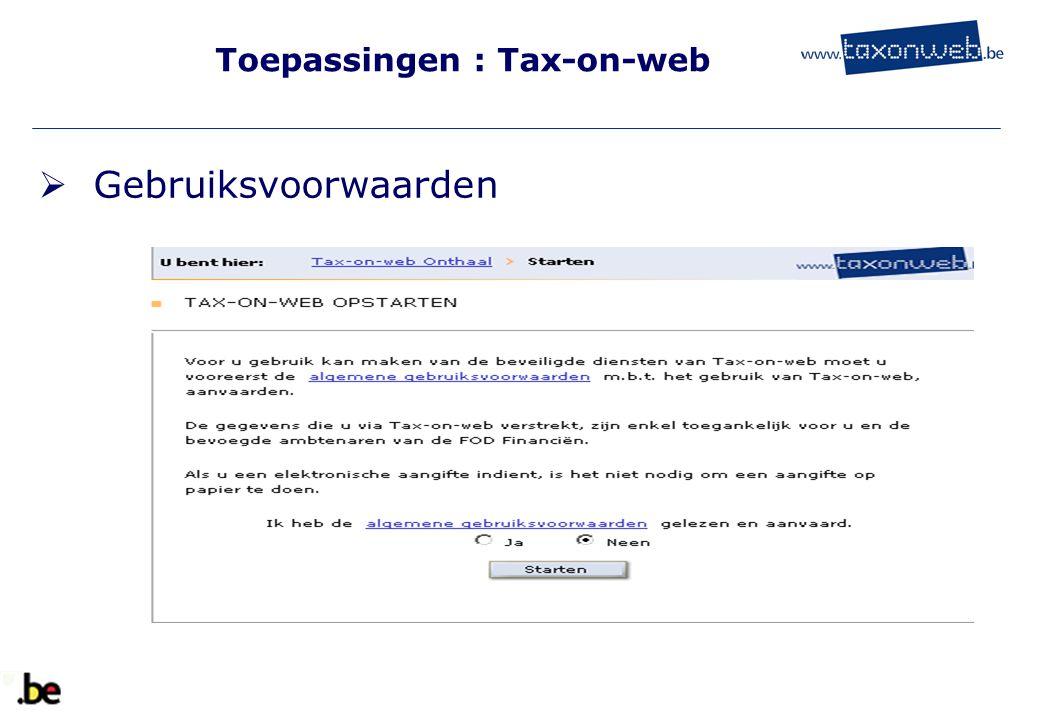 Toepassingen : Tax-on-web  Gebruiksvoorwaarden