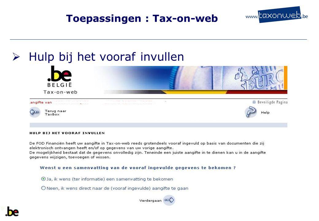 Toepassingen : Tax-on-web  Hulp bij het vooraf invullen