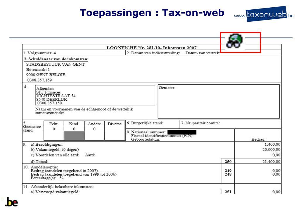 Toepassingen : Tax-on-web TOW