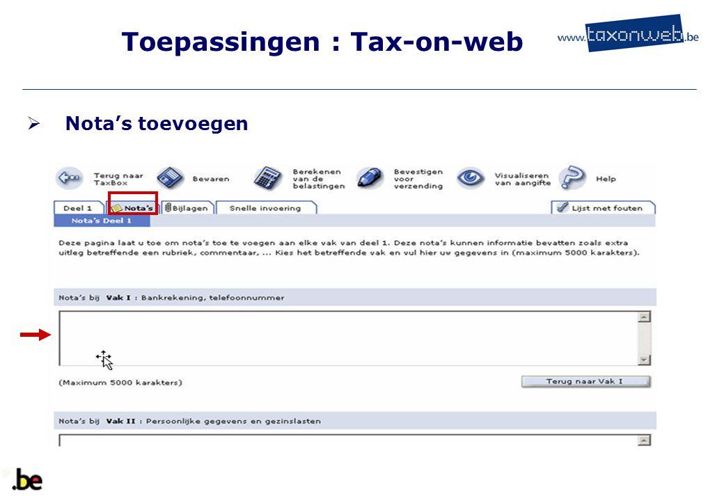 Toepassingen : Tax-on-web  Nota's toevoegen
