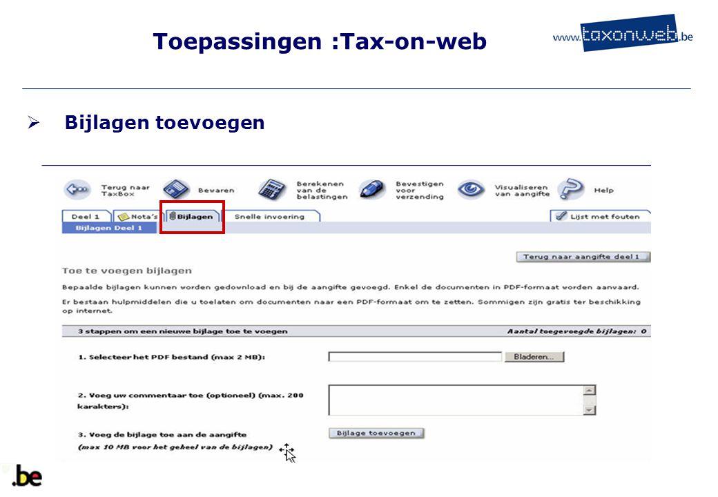Toepassingen :Tax-on-web  Bijlagen toevoegen