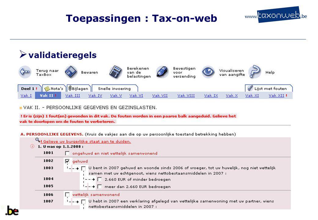 Toepassingen : Tax-on-web TOW  validatieregels