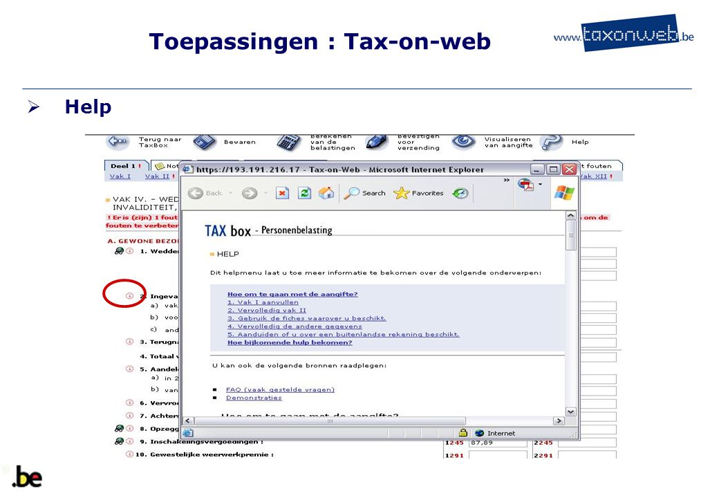 Toepassingen : Tax-on-web  Help