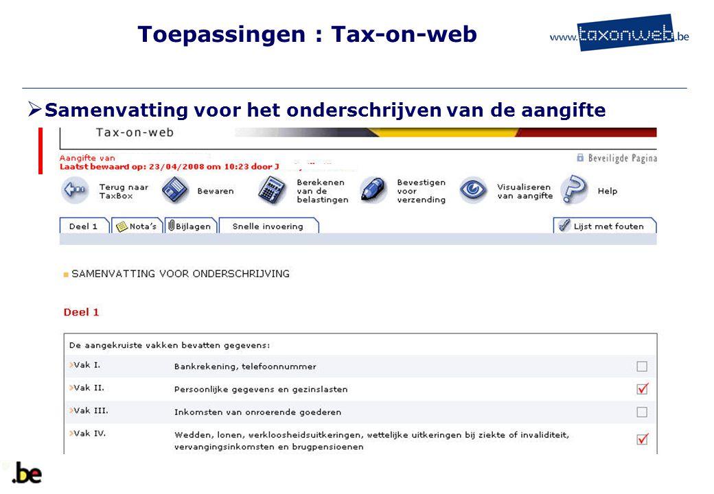 Toepassingen : Tax-on-web  Samenvatting voor het onderschrijven van de aangifte