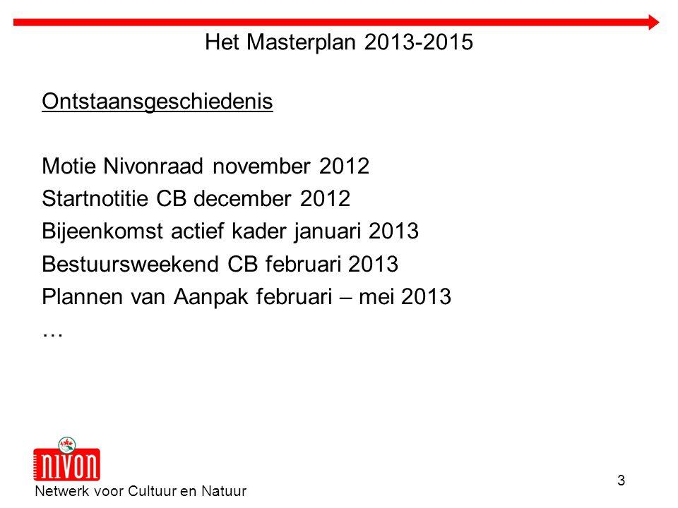 Netwerk voor Cultuur en Natuur 3 Het Masterplan 2013-2015 Ontstaansgeschiedenis Motie Nivonraad november 2012 Startnotitie CB december 2012 Bijeenkoms