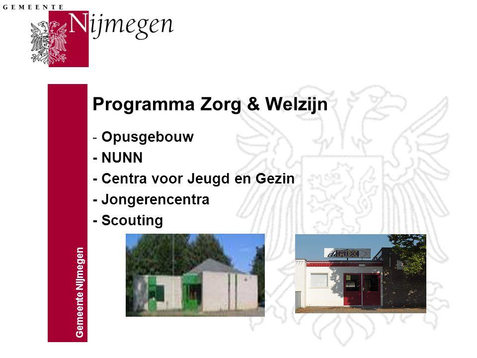 Gemeente Nijmegen Programma Zorg & Welzijn - Opusgebouw - NUNN - Centra voor Jeugd en Gezin - Jongerencentra - Scouting
