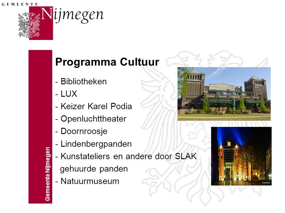 Gemeente Nijmegen Programma Cultuur - Bibliotheken - LUX - Keizer Karel Podia - Openluchttheater - Doornroosje - Lindenbergpanden - Kunstateliers en a
