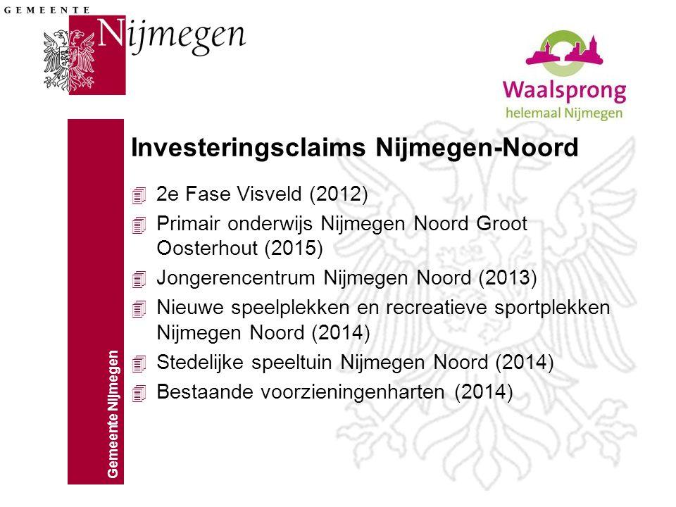 Gemeente Nijmegen Investeringsclaims Nijmegen-Noord 4 2e Fase Visveld (2012) 4 Primair onderwijs Nijmegen Noord Groot Oosterhout (2015) 4 Jongerencent