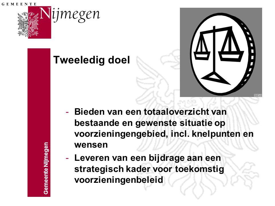 Gemeente Nijmegen Tweeledig doel -Bieden van een totaaloverzicht van bestaande en gewenste situatie op voorzieningengebied, incl. knelpunten en wensen