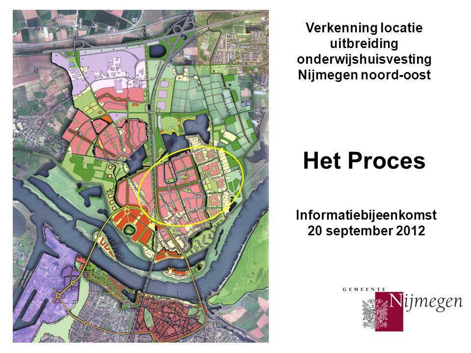 Verkenning locatie uitbreiding onderwijshuisvesting Nijmegen noord-oost Het Proces Informatiebijeenkomst 20 september 2012