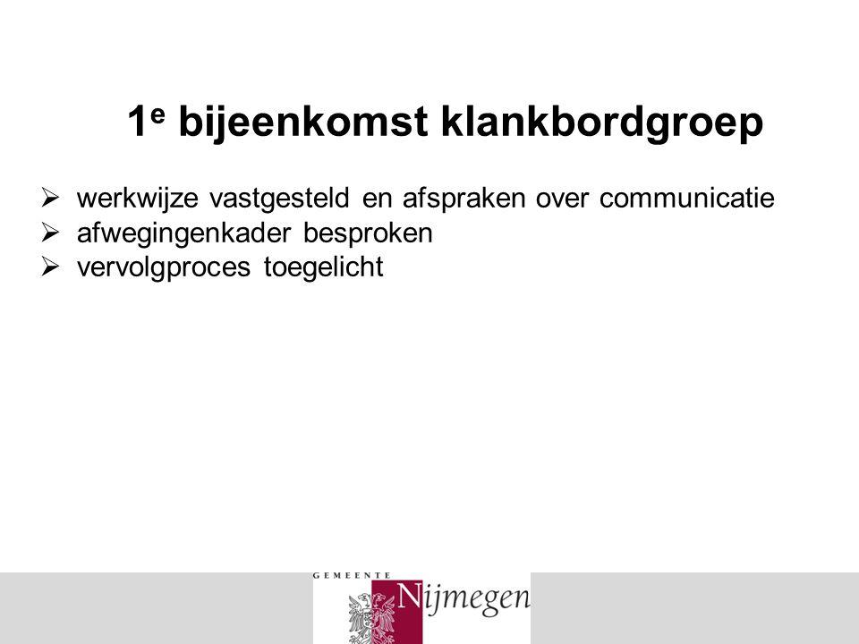 1 e bijeenkomst klankbordgroep  werkwijze vastgesteld en afspraken over communicatie  afwegingenkader besproken  vervolgproces toegelicht