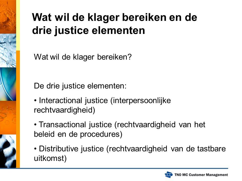 Wat wil de klager bereiken en de drie justice elementen Wat wil de klager bereiken? De drie justice elementen: Interactional justice (interpersoonlijk