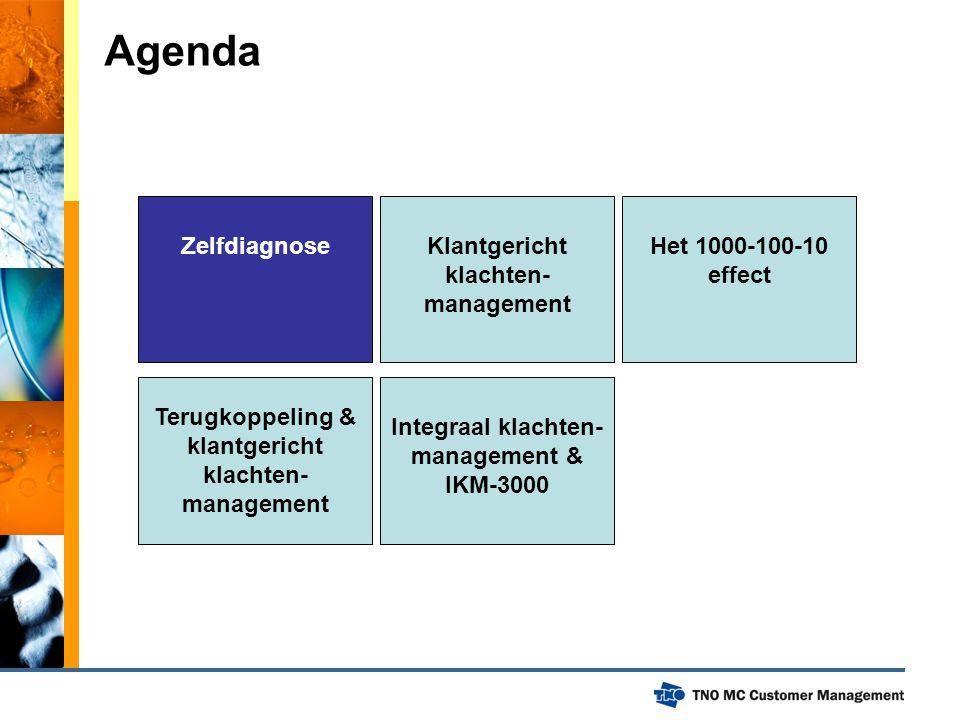 Zelfdiagnose Agenda Integraal klachten- management & IKM-3000 Terugkoppeling & klantgericht klachten- management Het 1000-100-10 effect Klantgericht k