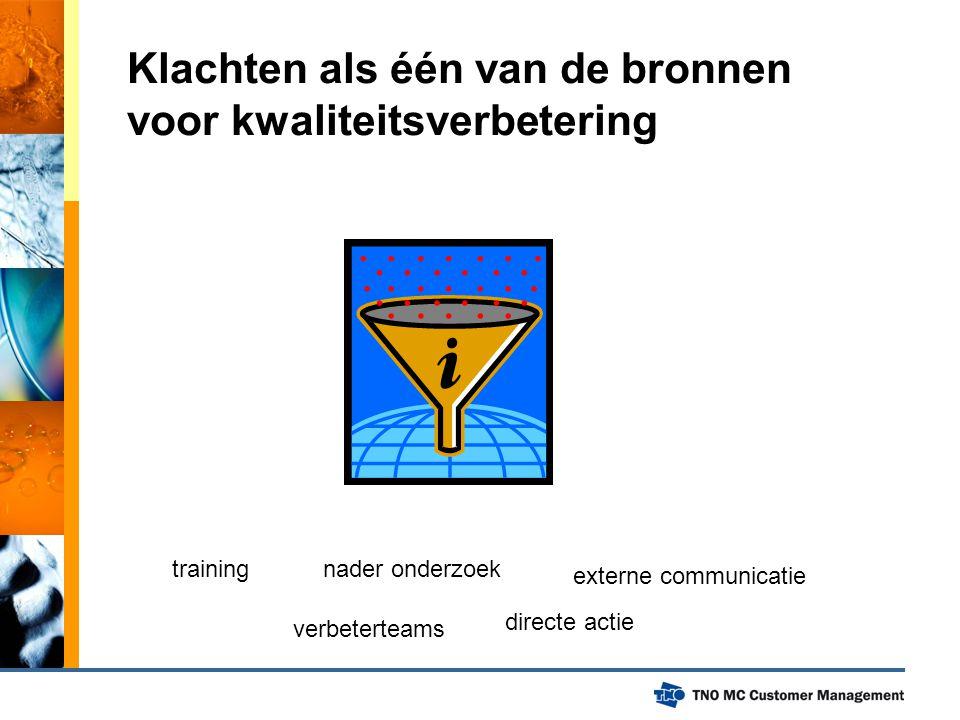 Klachten als één van de bronnen voor kwaliteitsverbetering training verbeterteams nader onderzoek directe actie externe communicatie
