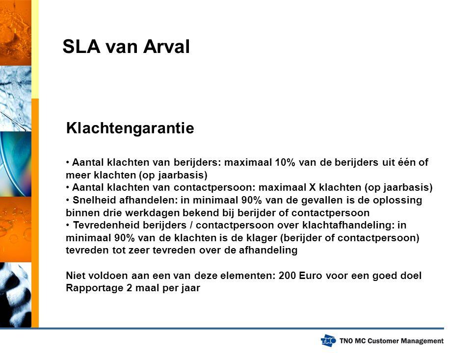 SLA van Arval Klachtengarantie Aantal klachten van berijders: maximaal 10% van de berijders uit één of meer klachten (op jaarbasis) Aantal klachten va