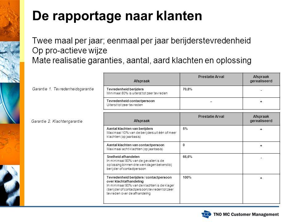 De rapportage naar klanten Twee maal per jaar; eenmaal per jaar berijderstevredenheid Op pro-actieve wijze Mate realisatie garanties, aantal, aard kla