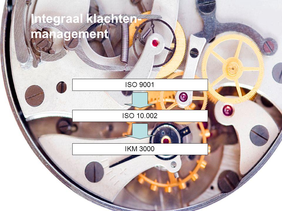 Integraal klachten- management ISO 9001 ISO 10.002 IKM 3000