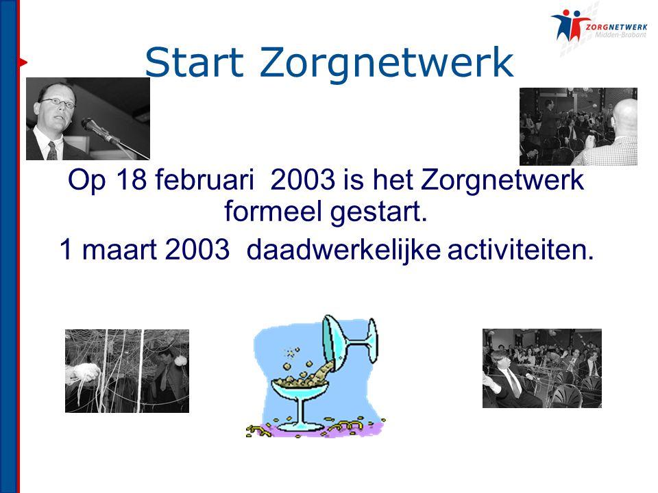 Start Zorgnetwerk Op 18 februari 2003 is het Zorgnetwerk formeel gestart.
