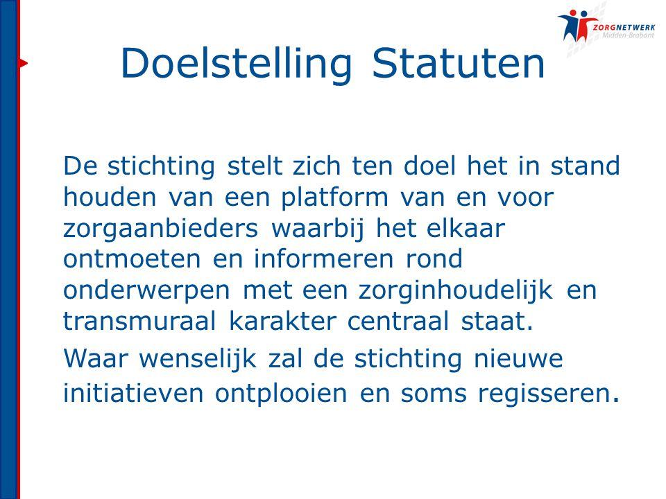 Doelstelling Statuten De stichting stelt zich ten doel het in stand houden van een platform van en voor zorgaanbieders waarbij het elkaar ontmoeten en informeren rond onderwerpen met een zorginhoudelijk en transmuraal karakter centraal staat.