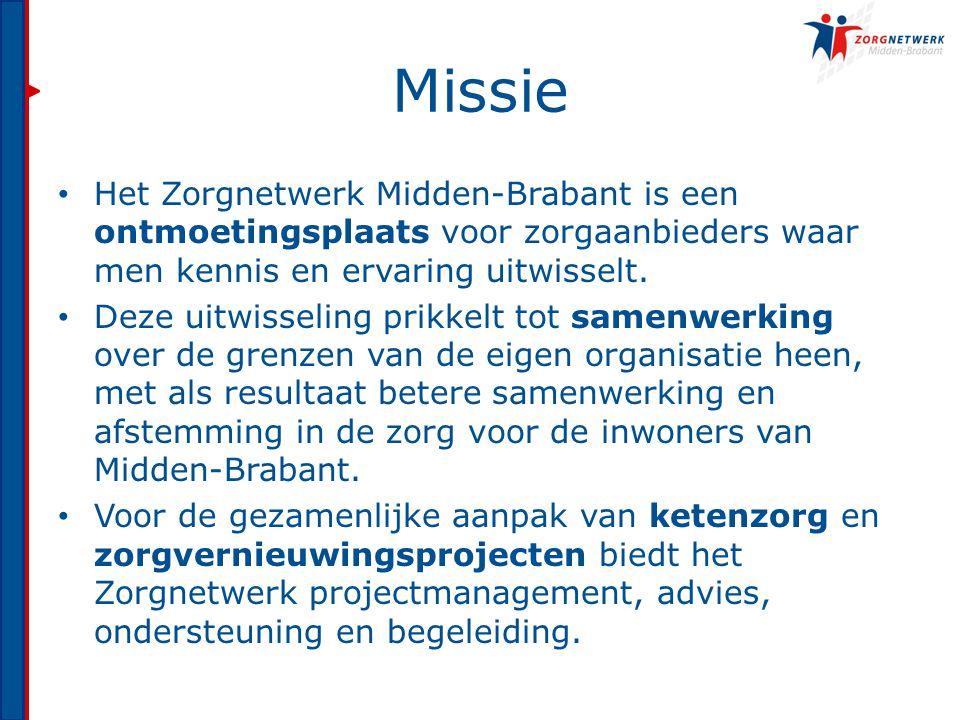 Missie Het Zorgnetwerk Midden-Brabant is een ontmoetingsplaats voor zorgaanbieders waar men kennis en ervaring uitwisselt.