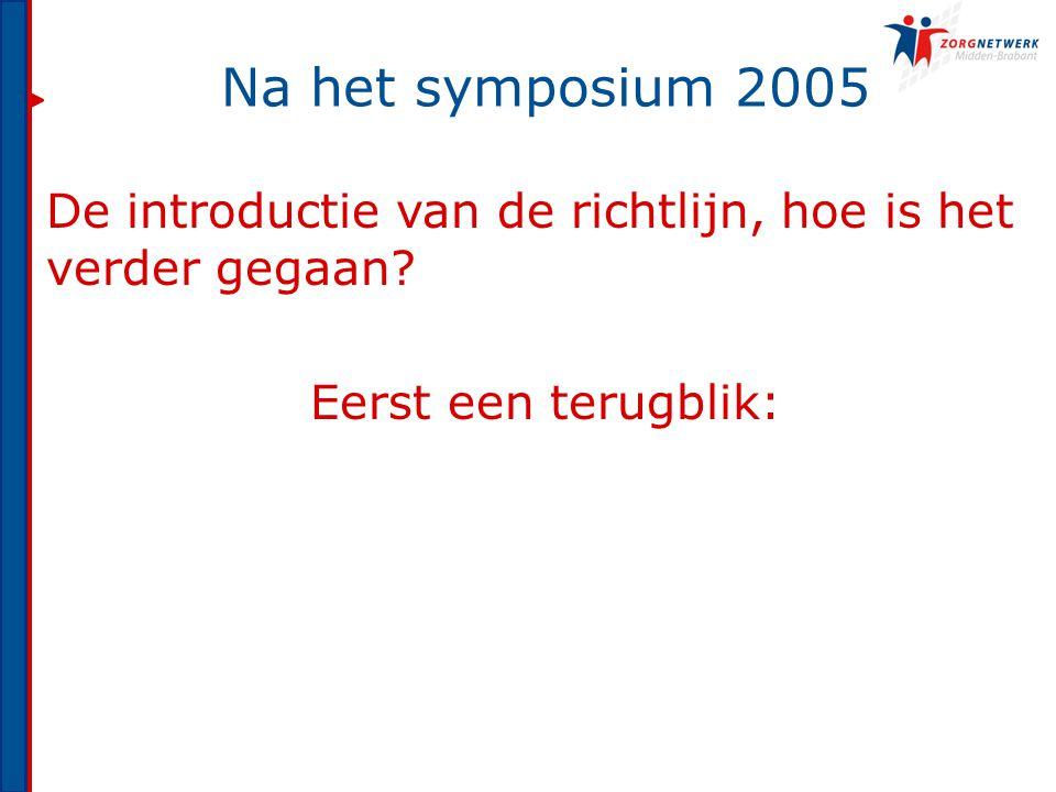 Na het symposium 2005 De introductie van de richtlijn, hoe is het verder gegaan? Eerst een terugblik: