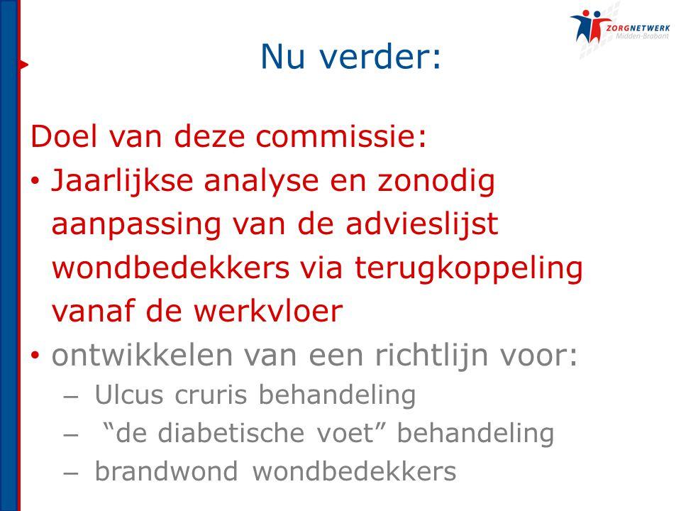 Nu verder: Doel van deze commissie: Jaarlijkse analyse en zonodig aanpassing van de advieslijst wondbedekkers via terugkoppeling vanaf de werkvloer on