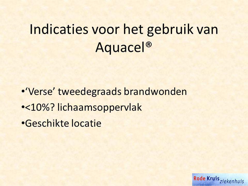 Indicaties voor het gebruik van Aquacel® 'Verse' tweedegraads brandwonden <10%.