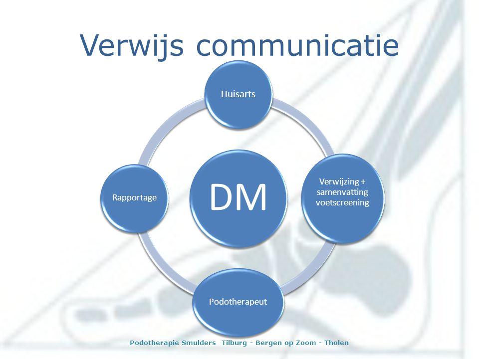 Verwijs communicatie DM Huisarts Verwijzing + samenvatting voetscreening PodotherapeutRapportage Podotherapie Smulders Tilburg - Bergen op Zoom - Thol