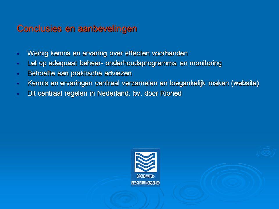 Conclusies en aanbevelingen Weinig kennis en ervaring over effecten voorhanden Weinig kennis en ervaring over effecten voorhanden Let op adequaat behe