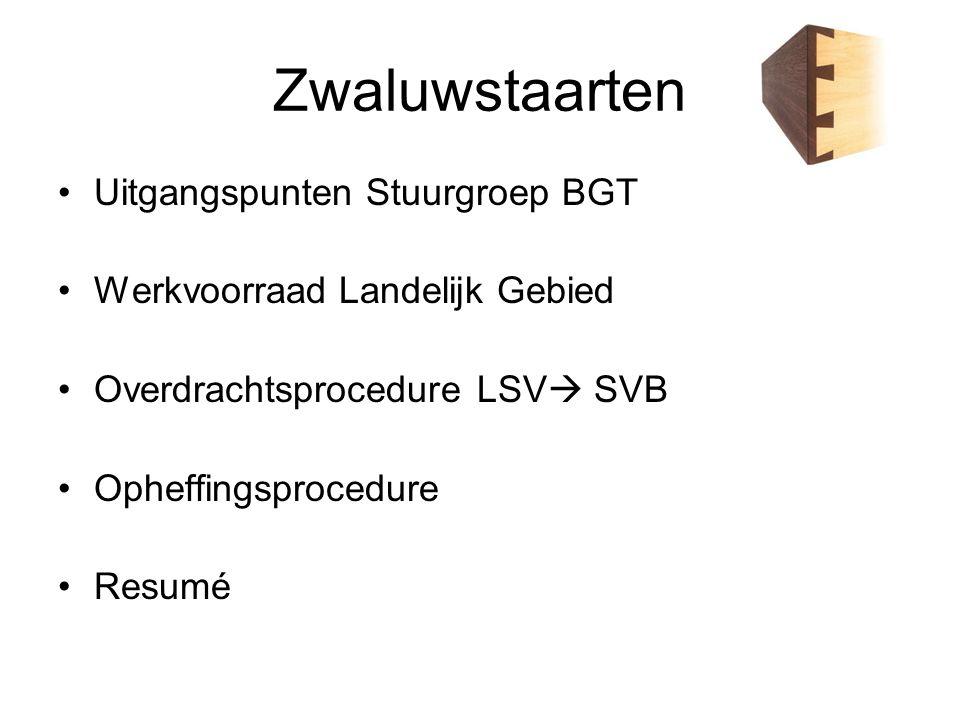 Uitgangspunten Stuurgroep BGT In het kader van Integrale benadering gedurende de transitieperiode de budgetten voor de bijhouding van de GBKN/BGT, werkvoorraad landelijke gebied en transitie ter beschikking te stellen aan het Samenwerkings Verband Bronhouders (SVB) Aan het LSV GBKN is gevraagd om de initiële kosten schatting van de actualiteit achterstand in het landelijk gebied verder te specificeren.