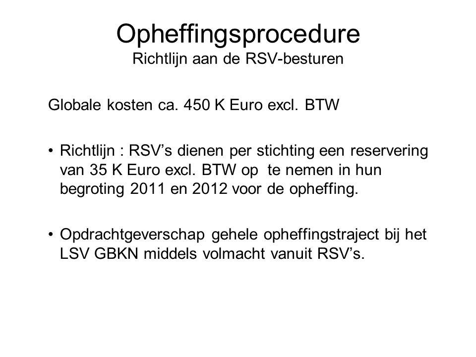 Opheffingsprocedure Richtlijn aan de RSV-besturen Globale kosten ca. 450 K Euro excl. BTW Richtlijn : RSV's dienen per stichting een reservering van 3