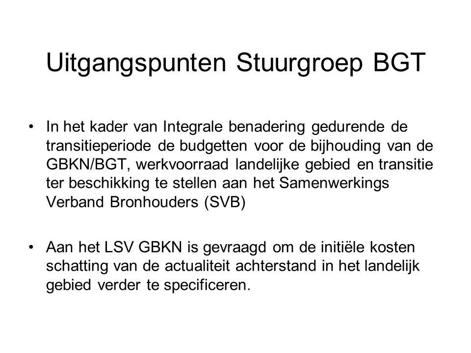 Uitgangspunten Stuurgroep BGT In het kader van Integrale benadering gedurende de transitieperiode de budgetten voor de bijhouding van de GBKN/BGT, wer