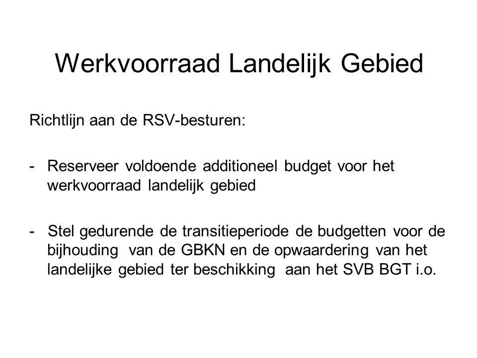 Werkvoorraad Landelijk Gebied Richtlijn aan de RSV-besturen: -Reserveer voldoende additioneel budget voor het werkvoorraad landelijk gebied - Stel ged