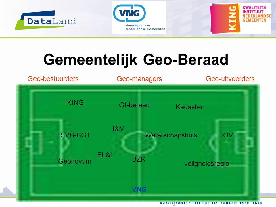 Gemeentelijk Geo-Beraad GI-beraad SVB-BGTIOV Geonovum KING EL&I I&M Kadaster Waterschapshuis BZK VNG veilgheidsregio Geo-bestuurdersGeo-managersGeo-uitvoerders