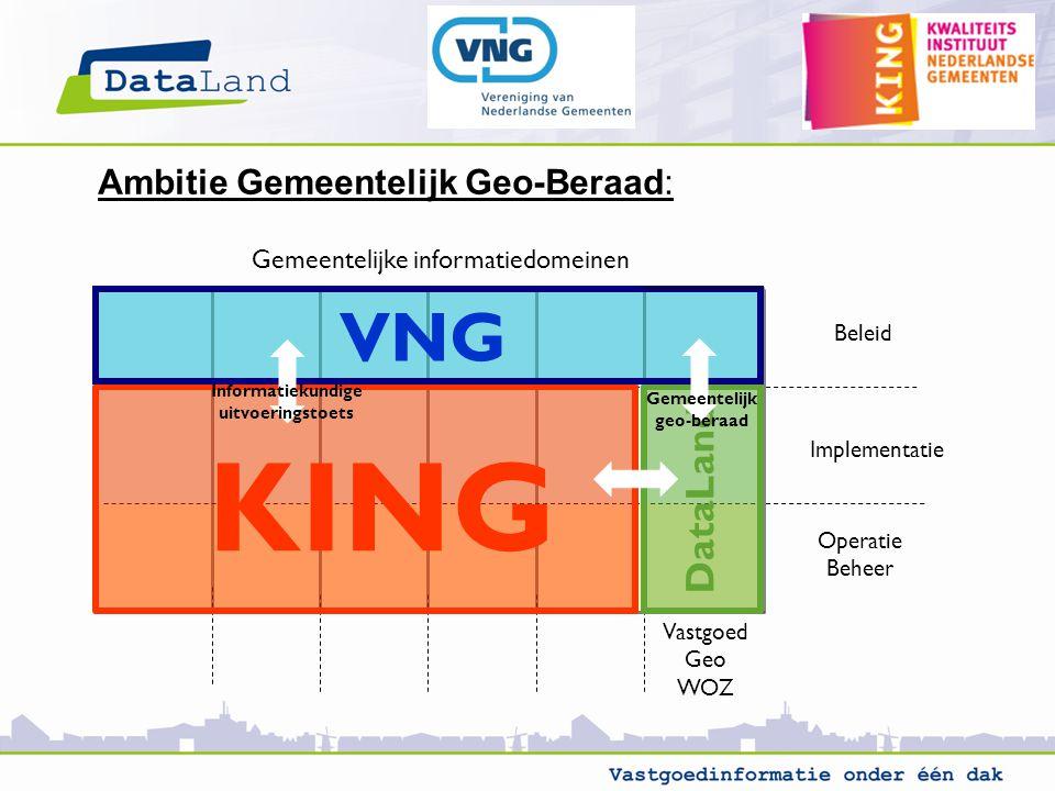 Vastgoed Geo WOZ Gemeentelijke informatiedomeinen Beleid Implementatie Operatie Beheer KING DataLand VNG Gemeentelijk geo-beraad Informatiekundige uitvoeringstoets Ambitie Gemeentelijk Geo-Beraad: