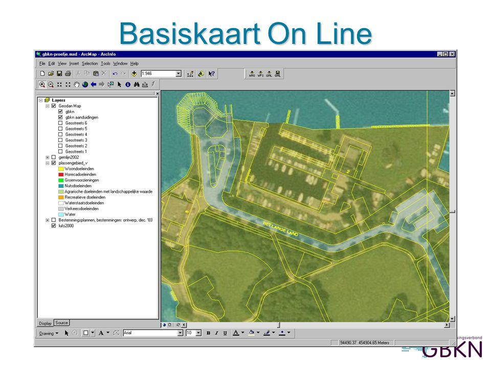 Afbeelding 2: Basiskaart On Line met bestemmingen, in ArcMap (prov. Zuid-Holland) Basiskaart On Line