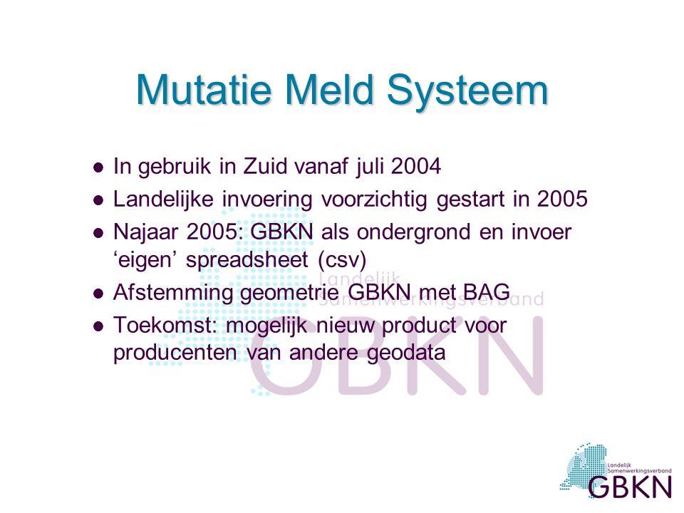 Mutatie Meld Systeem Beoordeling actualiteit en volledigheid door professionele gebruikers Beheer van mutaties door uitvoerende organsiatie Belangrijk