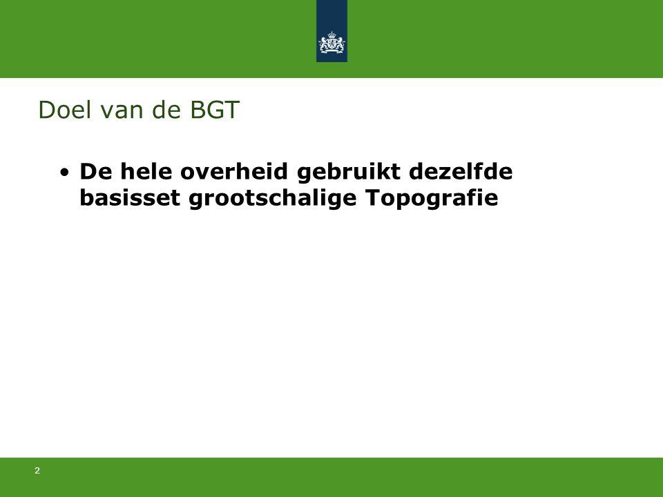 2 Doel van de BGT De hele overheid gebruikt dezelfde basisset grootschalige Topografie