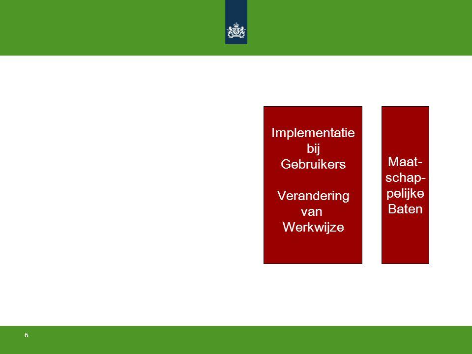 6 Beleid Ontwerp Transitie- strategie Implementatie bij Producenten Verandering van Werkwijze Maat- schap- pelijke Baten Implementatie bij Gebruikers